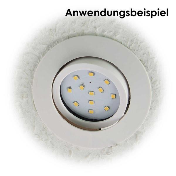 Superflacher LED-Einbaustrahler mit weißem Gehäuse