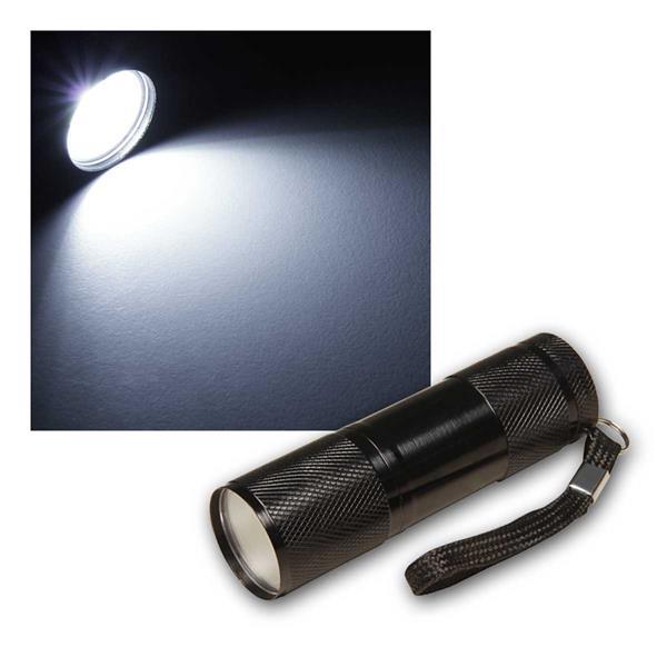 Taschenlampe mit COB LED, Aluminium schwarz
