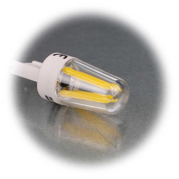 G9 Stiftsockelleuchte mit Anordnung der SMD LEDs wie bei einem Glühfaden