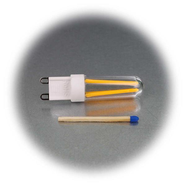 im Retrostil gestaltetes G9 LED Leuchtmittel mit Filament LEDs