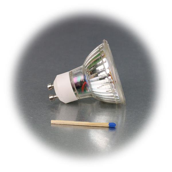 LED Leuchtmittel GU10 hat eine 3W Highpower COB LED in einem Glasgehäuse