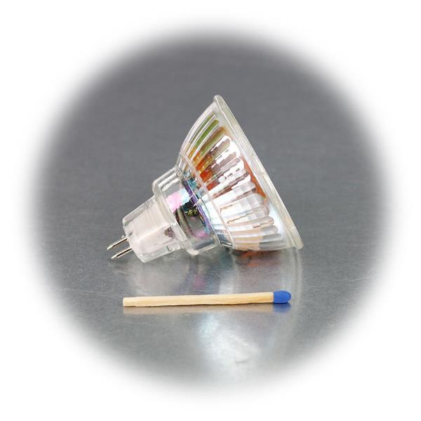 LED Leuchtmittel MR16 hat eine 3W Highpower COB LED in einem Glasgehäuse