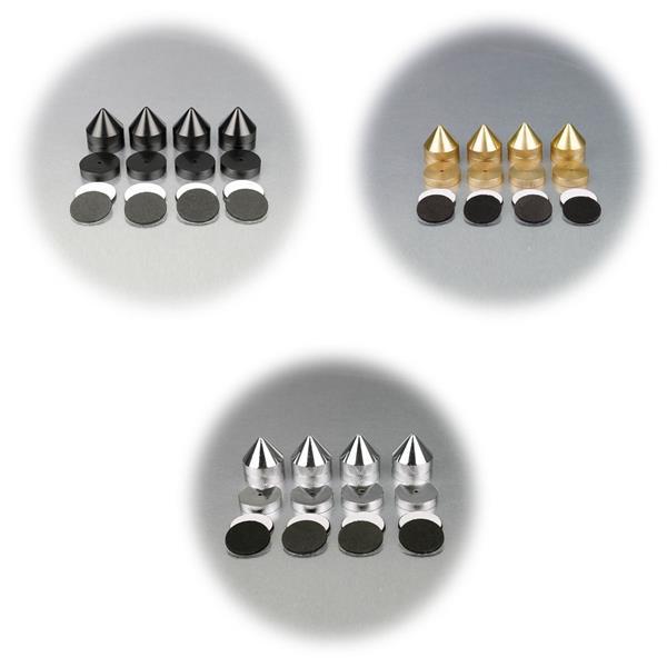 4er Set Sub-Watt-Absorber, 35-41mm, chrom, inkl. Grommets