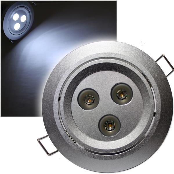 LED-Einbaustrahler 3x 3W CREE LEDs pur-weiß 12V DC