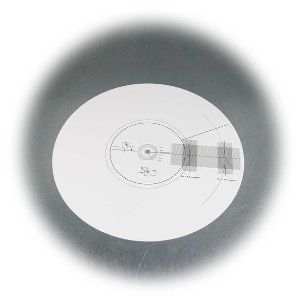 Tonabnehmer-Einstelllehre mit Stroboskop-Scheibe rückseitig