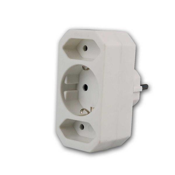 Kombi-Adapter Schutzkontak/Eurot 2+1, weiß
