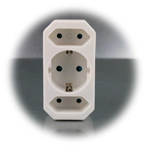 Steckdosen-Adapter mit  2x Euro- und 1x Schutzkontakt-Stecker