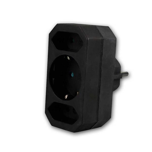Kombi-Adapter Schutzkontak/Eurot 2+1, schwarz