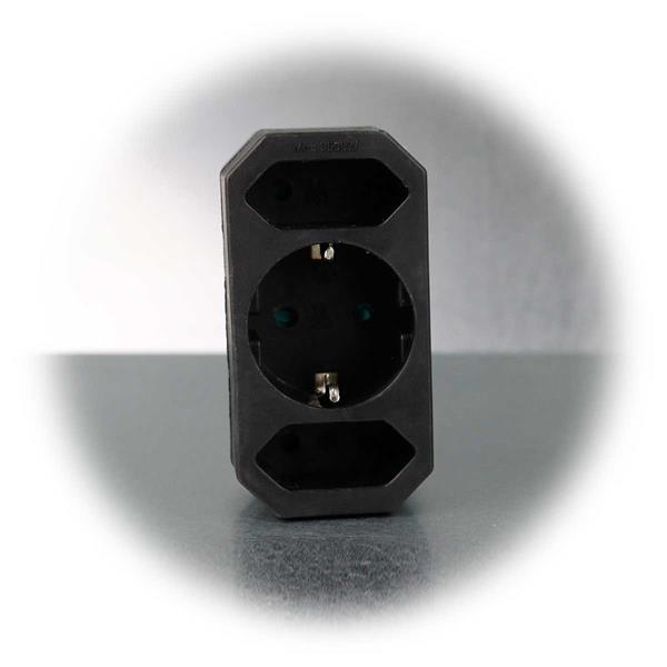 Schwarzer Steckdosen-Adapter für 250V~/16A