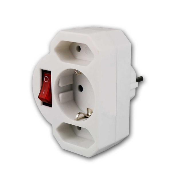 Kombi-Adapter Schutzkontakt 2+1 mit Schalter, weiß
