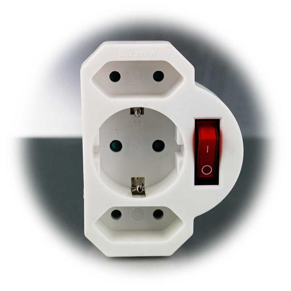 Weißer Steckdosen-Adapter mit beleuchtetem Schalter
