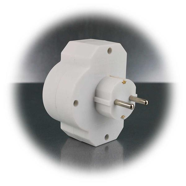 Steckdosen-Adapter mit Schalter mit 2x Euro- und 1x Schutzkontakt-Stecker