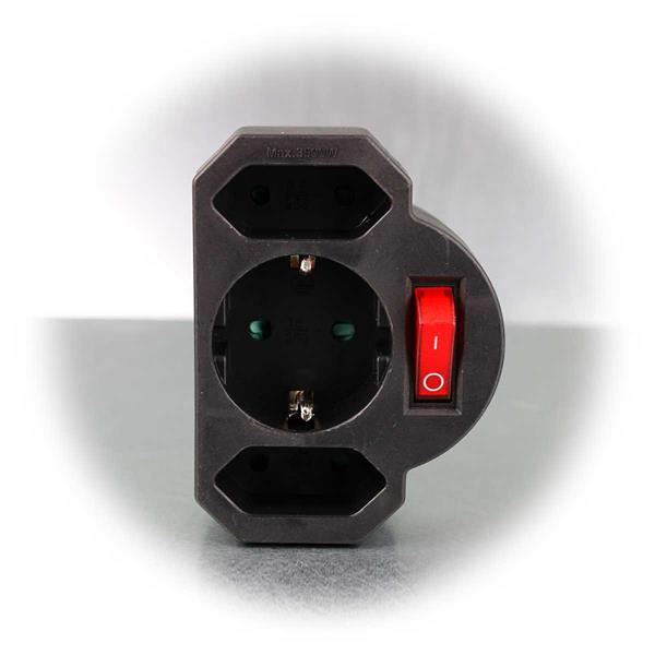Kombinierte Mehrfachsteckdose mit beleuchtetem Schalter