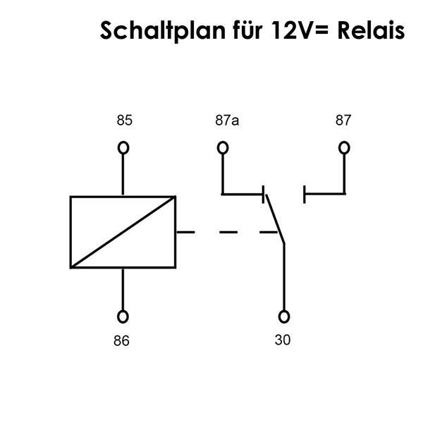 Schaltplan für das 12V-Umschaltrelais mit 5 Polen