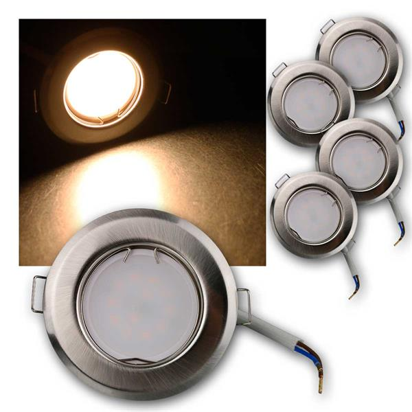 5er Set LED Einbauleuchten RFS3WW 230V 3W warm