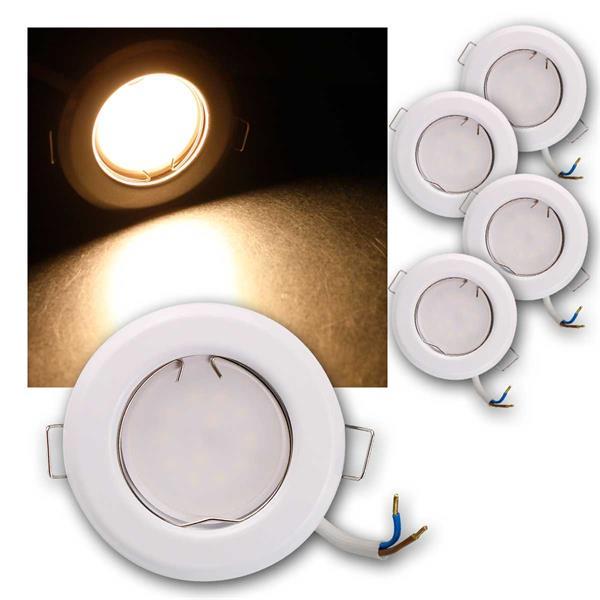 5er Set LED Einbauleuchten RFW5WW 230V 5W warm