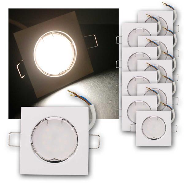 10er Set LED Einbauleuchten EFW3NW 230V 3W neutr