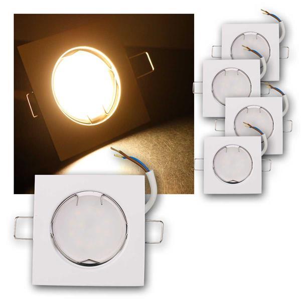 5er Set LED Einbauleuchten EFW5WW 230V 5W warm