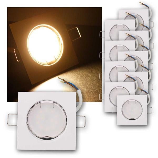 10er Set LED Einbauleuchten EFW5WW 230V 5W warm