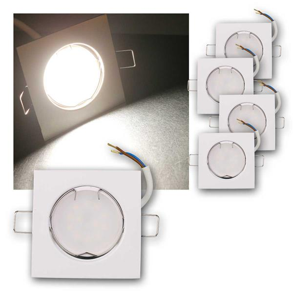 5er Set LED Einbauleuchten EFW5NW 230V 5W neutra