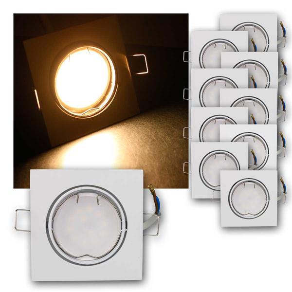 10er Set LED Einbauleuchten ESW3WW 230V 3W warm