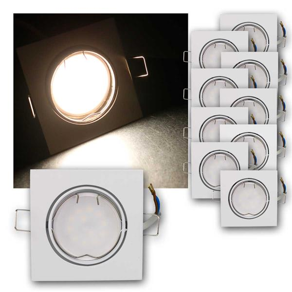 10er Set LED Einbauleuchten ESW3NW 230V 3W neutr