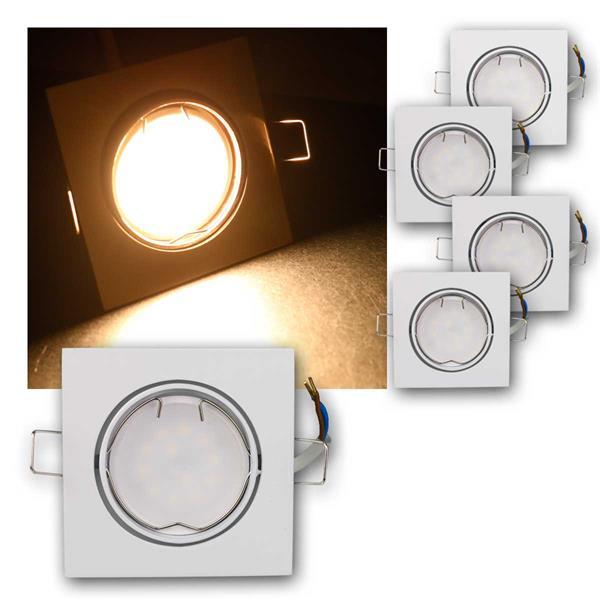 5er Set LED Einbauleuchten ESW5WW 230V 5W warm