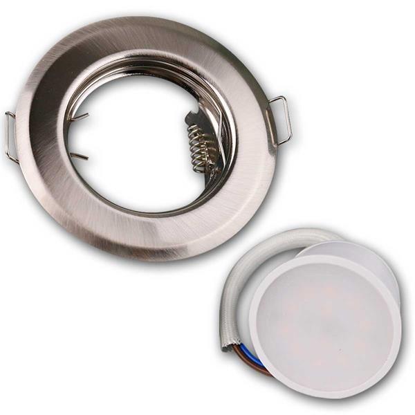 Die fünf 3W Einbaustrahler in Edelstahl-Optik sind anschlussfertig für 230V