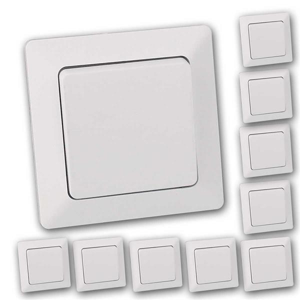 10 MILOS Wechsel-Schalter weiß matt mit Rahmen, UP