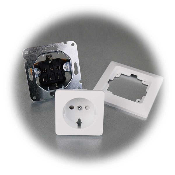 10er Set MILOS Schutzkontakt-Steckdosen weiß mit Rahmen