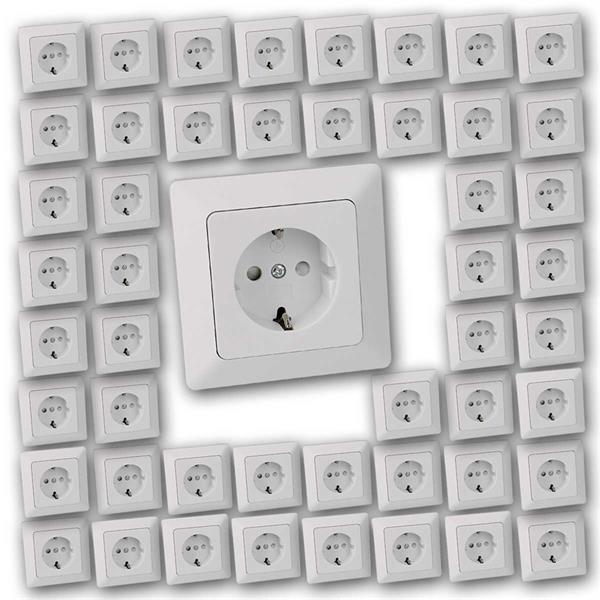50 MILOS Schutzkontakt-Steckdosen weiß matt Rahmen