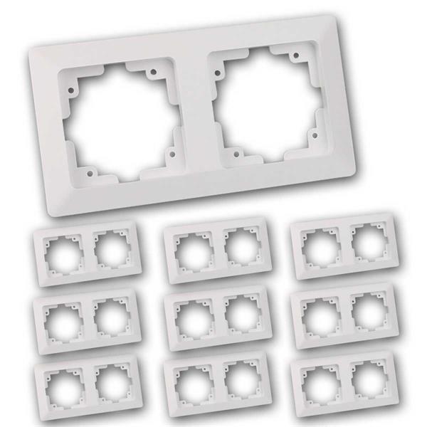 10x MILOS 2-fach Rahmen, weiß matt, Doppelrahmen