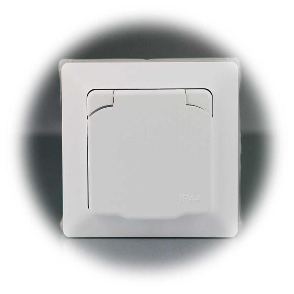 Wasserdichte Schutzkontakt- Steckdose mit Deckel aus der MILOS-Serie