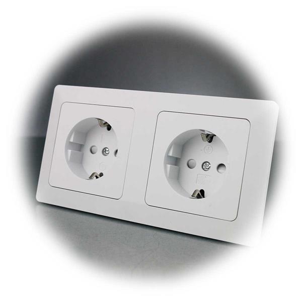 Doppel-Schutzkontakt-Steckdose MILOS inkl. Rahmen