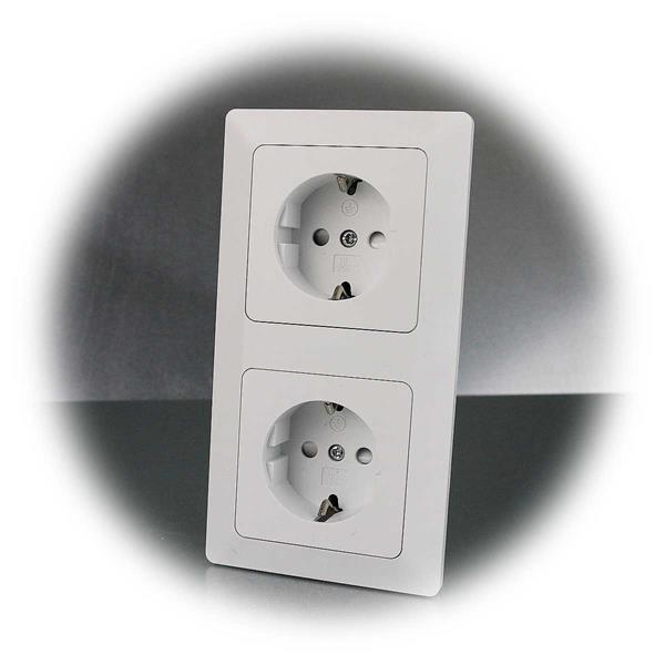 MILOS-Kombination aus zwei Schutzkontakt-Steckdosen inkl. Rahmen