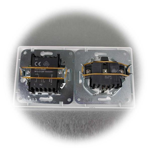 Mattweiße Steckdosen-Wechselschalter-Kombination aus der MILOS-Serie