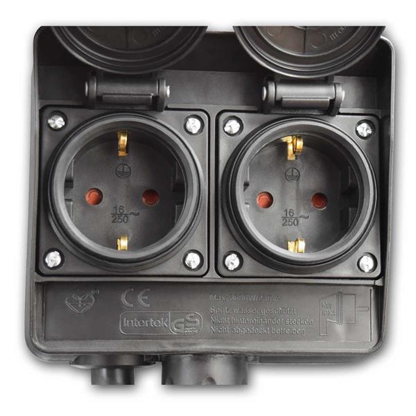 Außensteckdose für die Stromversorgung von 4 elektrischen Geräten