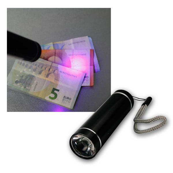 LED UV Taschenlampe / Geldscheinprüfer, Aluminium