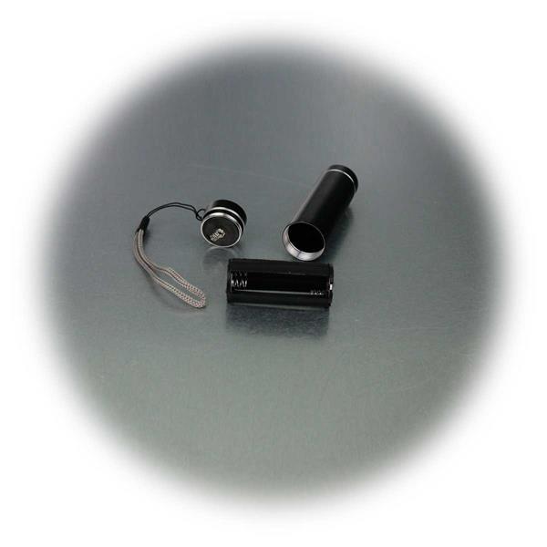 passend für 3 Microbatterien, LED UV Taschenlampe, Aluminium