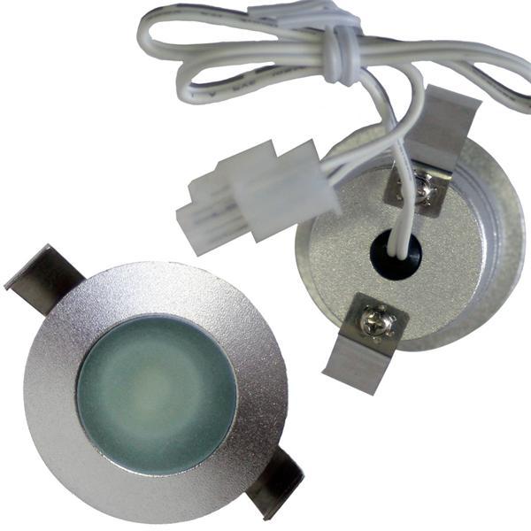LED Strahler 12V mit ca. 36mm Einbau-Ø und 2poligen Kunststoffsteckverbinder