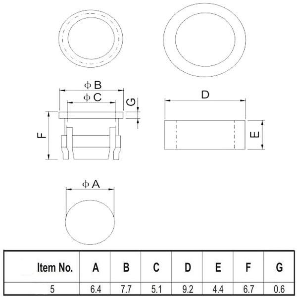 Abmessungen des LED Montageringes aus Plastik