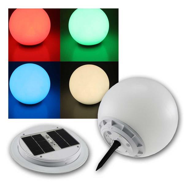 LED Solar Kugelleuchte RGB Ø30cm, IP67, Erdspieß