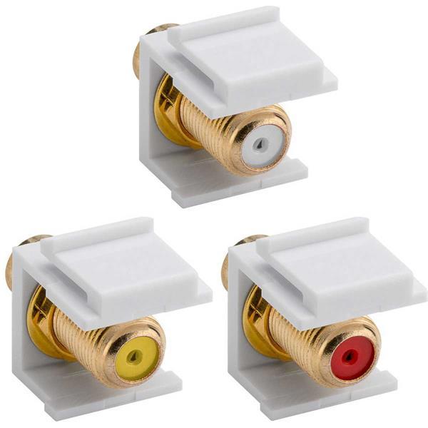 Keystone Modul Cinch-Buchse Weiß>F-Buchse 3 Farben