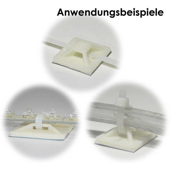 Sockel selbstklebend, für Kabelbinder und LED-Lichtleisten