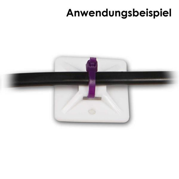 Selbstklebende Kabelsockel mit Durchführung für Kabelbinder