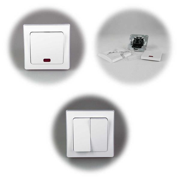 DELPHI Serien-Schalter und Kontroll-Schalter, Unterputz, weiß