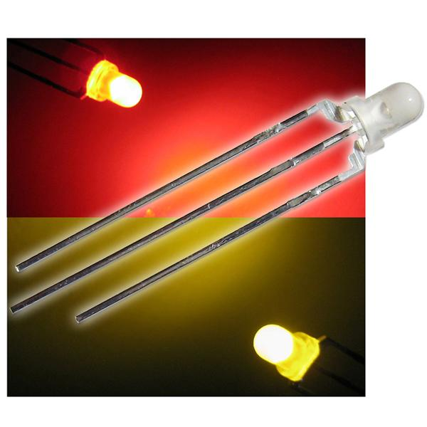 10 Duo Color LEDs 3mm diffus rot-gelb LED 3-polig