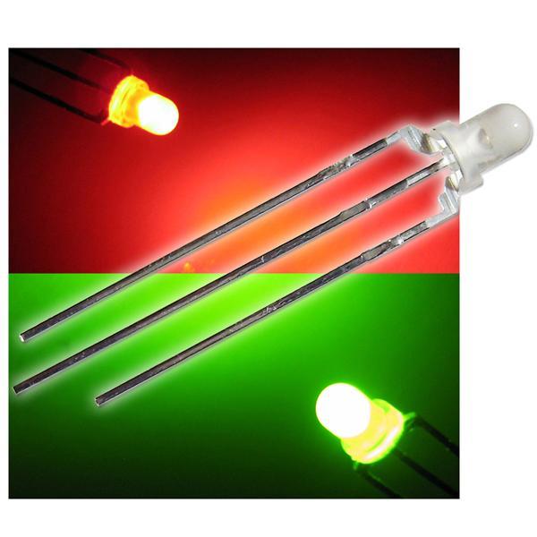 10 Duo Color LEDs 3mm diffus rot-grün LED 3-polig