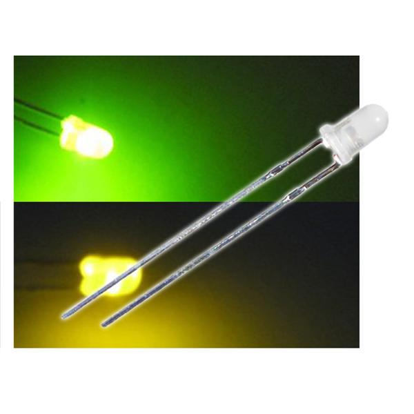 10 LED Bi-Pol 3mm diffus Grün/Gelb - DUO-LED Set