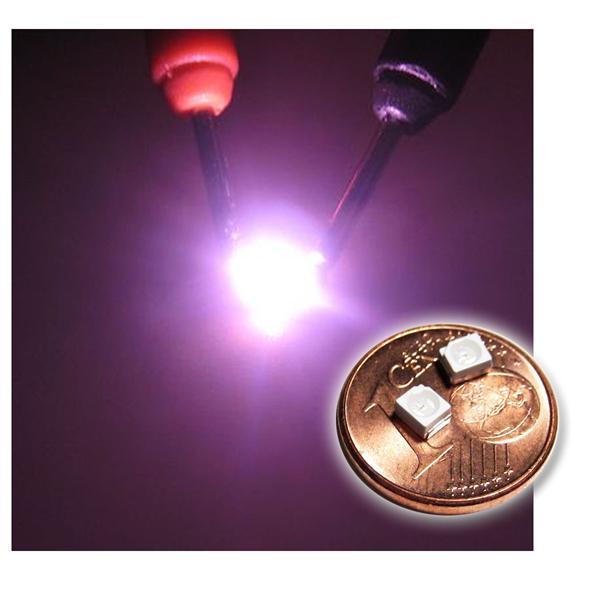 10 SMD LED PLCC-2 3528 Pink, Rosa, Roze superhell